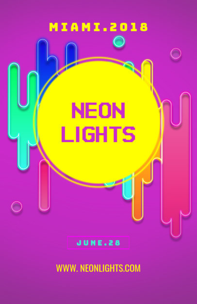 Neon Party Flyer Template with Customizable Colors 190c