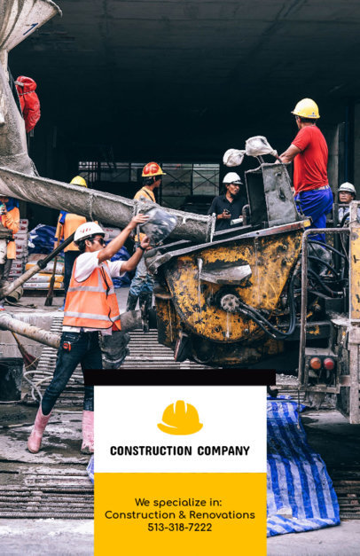 Construction Company Flyer Template with Realistic Images 285d
