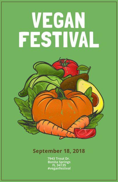 Online Flyer Maker for a Vegan Festival with Illustrations 163d