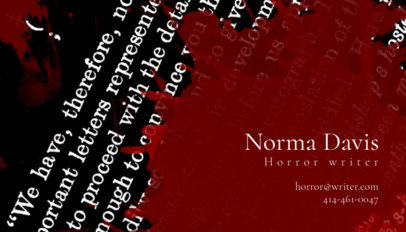 Online Business Card Maker for Horror Writers 211b
