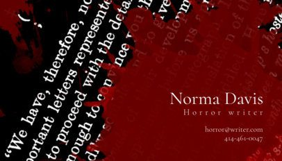 Online Business Card Maker for Horror Writers 211b