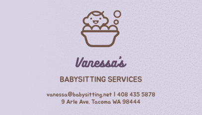 Pastel Business Card Template for Babysitting Services 256a