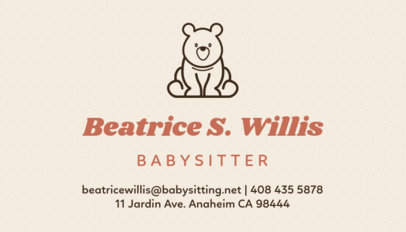 babysitter business card template with toy icon
