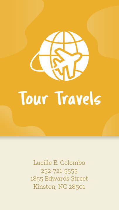 Business Card Maker for Travel Agencies Yellow Background 338e