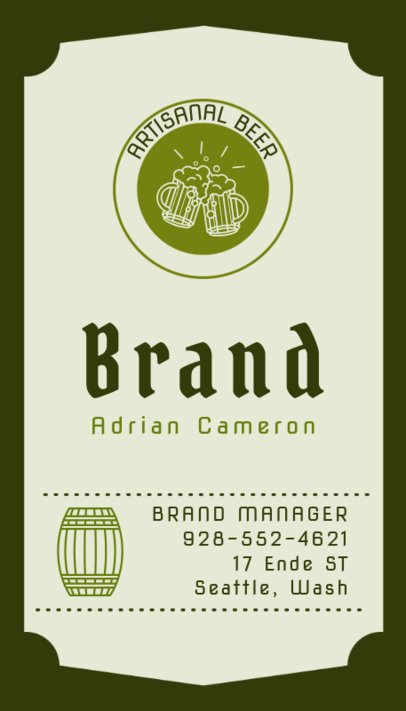 Brewery Vertical Business Card Maker 261e