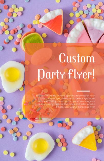 Party Flyer Template with Gummy Food Background 281c