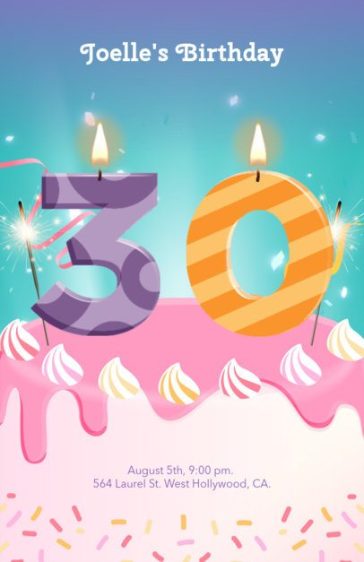Colorful Party Flyer Maker with Cake and Number Graphics 233e