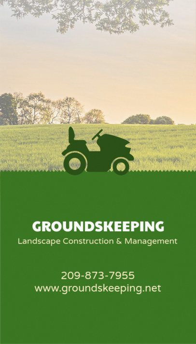 Landscaping Business Cards with Tractor Icon 124d