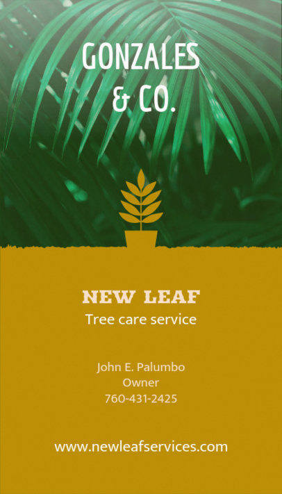 Online Business Card Maker for Landscaper with Leaf Icon 124e