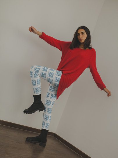 Leggings Mockup of a Girl Dancing with a Red Sweater a19144