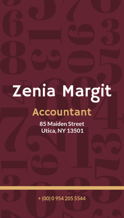 Accountant Business Card Template with Numbers Background 332d