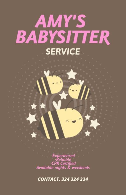 Online Flyer Maker for Babysitters with Bee Illustrations 349a