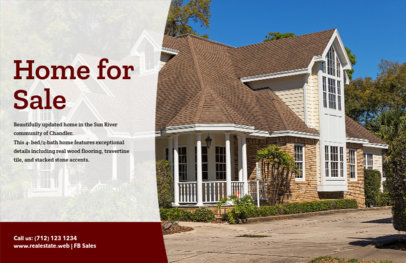 home for sale flyer template with realistic photos