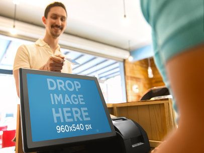 Desktop Mockup of Cashier Taking Payment From Male Customer