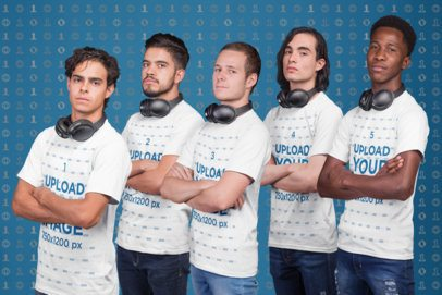 Side Shot T-Shirt Mockup of an Esports Team with Headphones a21094
