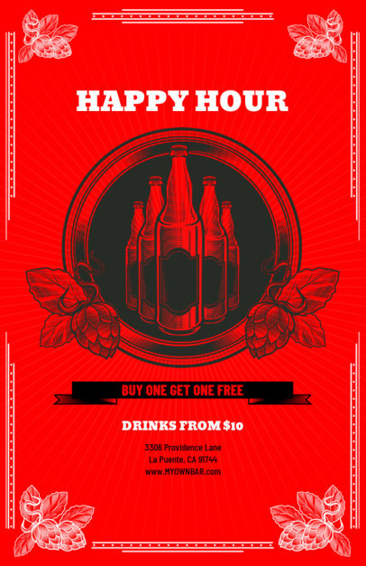 Happy Hour Online Flyer Maker 135a