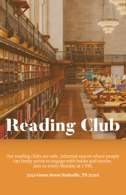 Online Flyer Maker for a Reading Club Library Background 142d