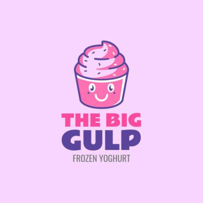 Logo Maker for a Frozen Yogurt Shop With Cartoon Yogurt 1241a