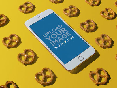 Gold iPhone 8 Plus Mockup with Pretzels a21941