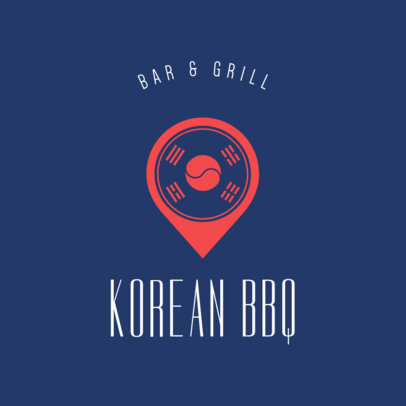 Online Logo Maker for a Korean Food Restaurant with Flag Icon 1222d