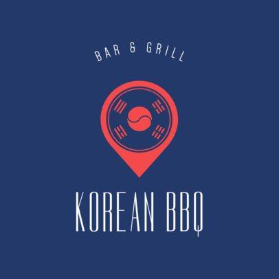 Online Logo Maker for a Korean Food Restaurant with Flag Icon 1222d