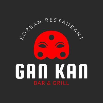 Online Logo Maker for a Korean BBQ with Korean Mask Icon 1222e