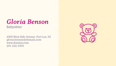 Business Card Maker App for Babysitter with Teddy Bear Images 355d