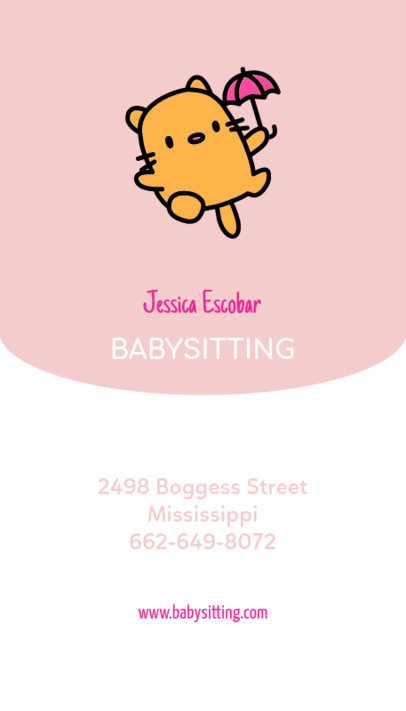 Online Business Card Maker for Babysitters 354b
