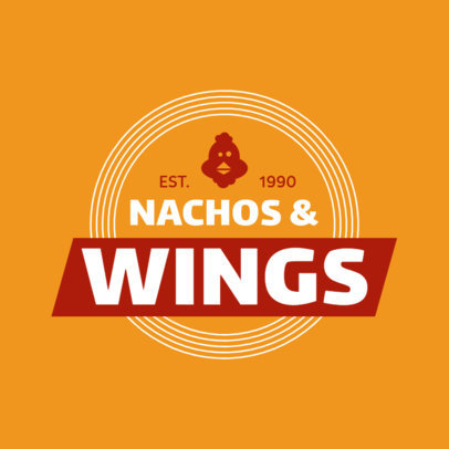 Wings Restaurant Logo with Chicken Icon 1228e