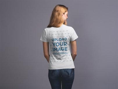 Back Shot T-Shirt Mockup of a Blonde Girl 20906