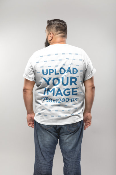 Back of a Plus Size T-Shirt Mockup of a Man Against a White Wall 20801