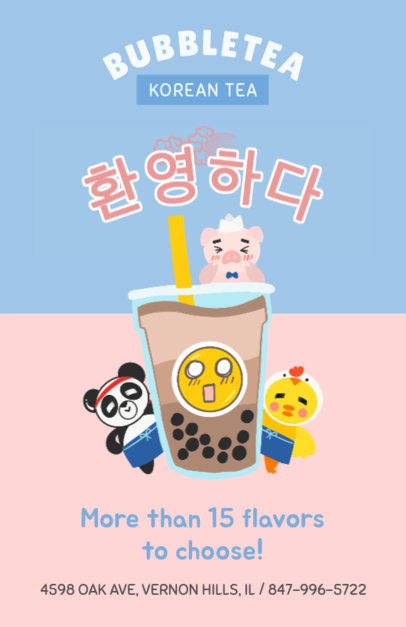 Flyer Maker for a Korean Bubble Tea 385a