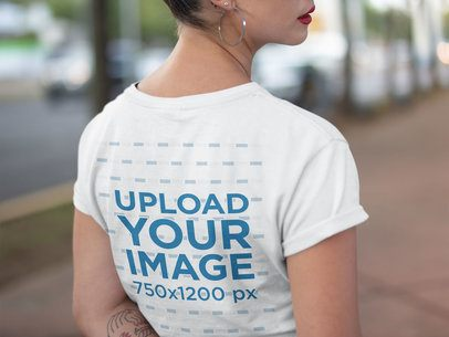 Back Shot of a Tshirt Mockup Featuring a Girl Walking a21311