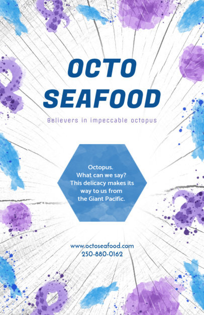 Flyer Maker for Seafood Restaurants with Octopus Illustrations 392 e