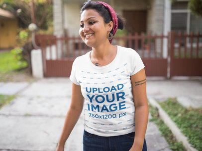 Round Neck Tshirt Mockup Featuring a Smiling Woman Outside a House 20647