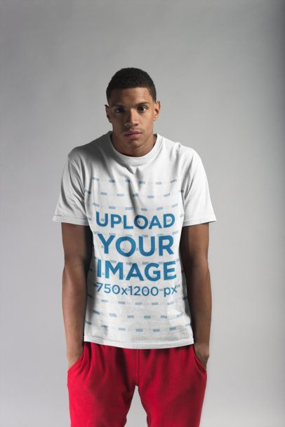 T-Shirt Mockup of a Man with his Hands in Pockets 21080
