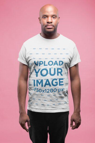 Mockup of a Bald Man Wearing a T-Shirt 20789