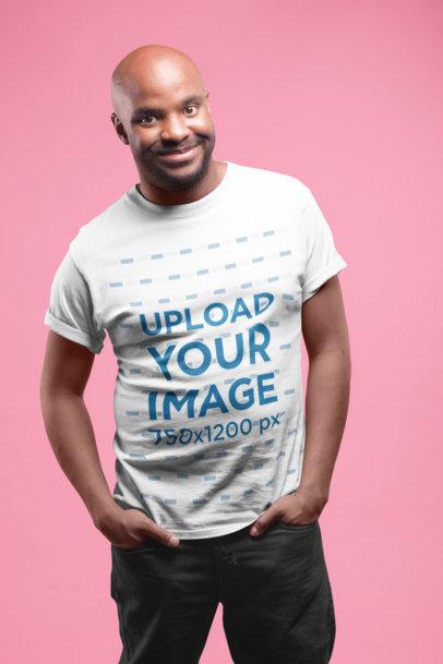Mockup of a Smiling Man Wearing a Tshirt 20791