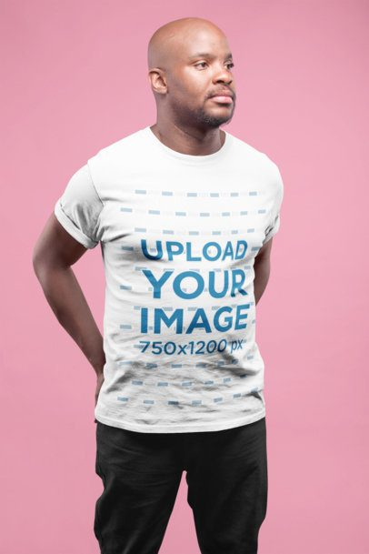 Mockup of a Bald Man Wearing a Round Neck Tee 20788