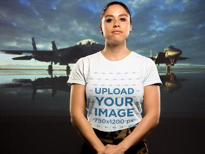 T-Shirt Mockup of a Woman Veteran 21214