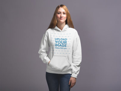Mockup of a Woman Wearing a Pullover Hoodie 20908