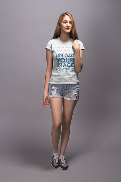 Mockup of a Blonde Girl Wearing a T-Shirt and Denim Shorts 20912