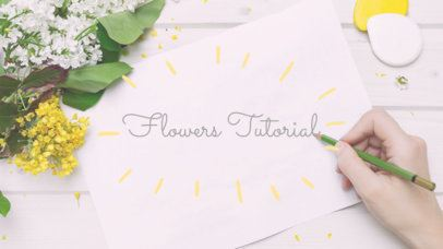 YouTube Channel Art Template with Floral Elements e413