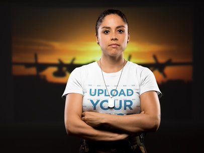 T-Shirt Mockup of a Woman Soldier with Crossed Arms 21222