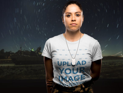 Front Shot T-Shirt Mockup of a Woman Soldier Against a Night Sky 21223