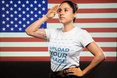 T-Shirt Mockup of a Woman Soldier Saluting the American Flag 21216