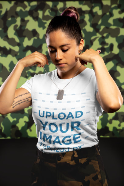 Mockup of an Army Woman Wearing a T-Shirt Putting on a Military Tag 21218