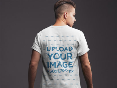 Back Shot Tshirt Mockup of a Man with a Trendy Hairstyle 21014