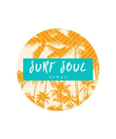 Surf T-Shirt Design Template with Tropical Background 266e