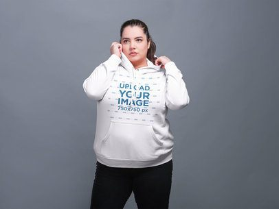 Plus Size Pullover Hoodie Mockup Featuring a White Girl 21024